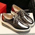 Womens Oxford Lace Up Striped Platform Metallic Silver Black God Red White Fashion Vintage Platform Bullock Flat Female Shoes