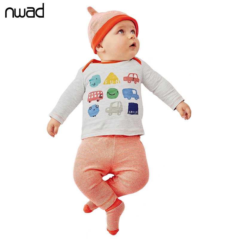 NWAD Baby Boy Girl Clothes Set Fashion Cartoon Car Clothing Set For Newborn Baby Long Sleeve T Shirt +Pant + Hat FF229