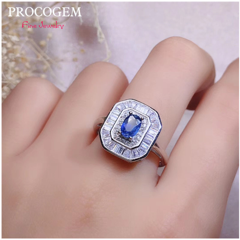 Natural Srilanka Sapphire Rings with CZ for Ladies Engagement Party gifts Genuine gemstone Fine jewelry 925 Sterling Silver #500