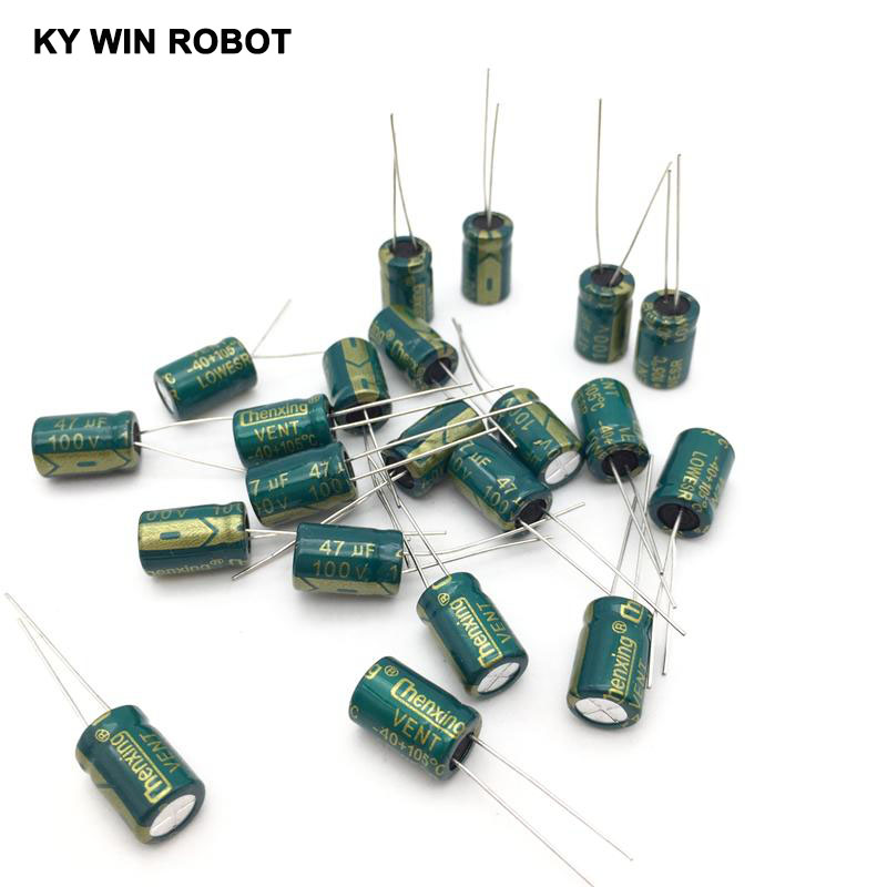 20pcs <font><b>100V</b></font> <font><b>47UF</b></font> 8x12mm 105C Radial High-frequency low resistance Electrolytic <font><b>Capacitor</b></font> <font><b>47UF</b></font> <font><b>100V</b></font> image