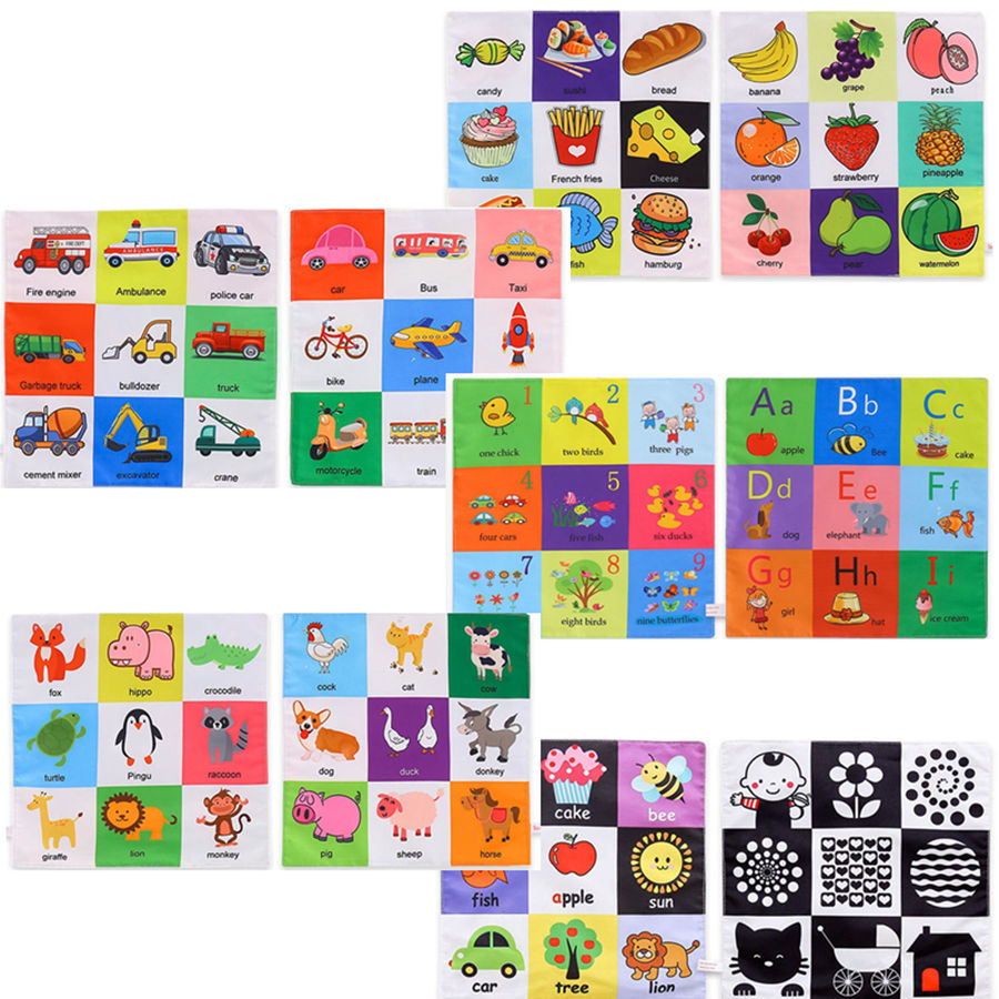 5pcs 27cm Baby Cloth Book Intelligence Development Educational Toys Rattles Mobiles Soft Infant Early Learning Quiet Book Toy