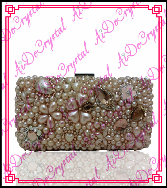 Aidocrystal double use handmade jewelry champagne color ladies clutch handbag for wedding party