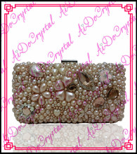 Aidocrystal double use handmade jewelry champagne color ladies' clutch handbag for wedding party
