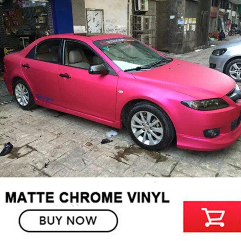 OPLARE High Quality Rose Matte Satin Red Metallic Vinyl Film Rose Satin Metal Car Wrap Air Free Car Graphics 1.52*20 M / Roll