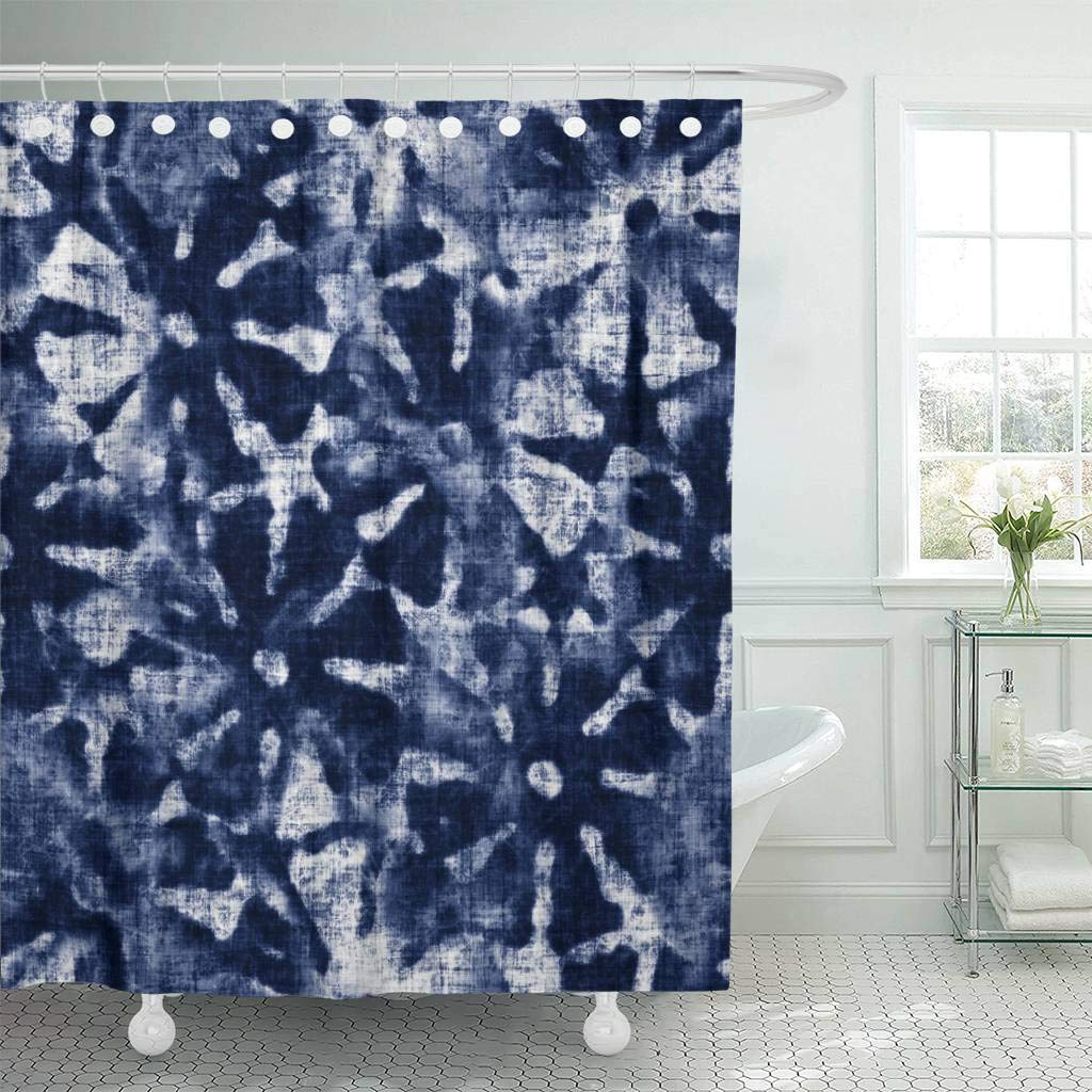 Us 18 73 25 Off Fabric Shower Curtain Blue Indigo Abstract Tie Dyed Floral Navy Shibori Irregular Washed Artistic Creative Decorative In Shower