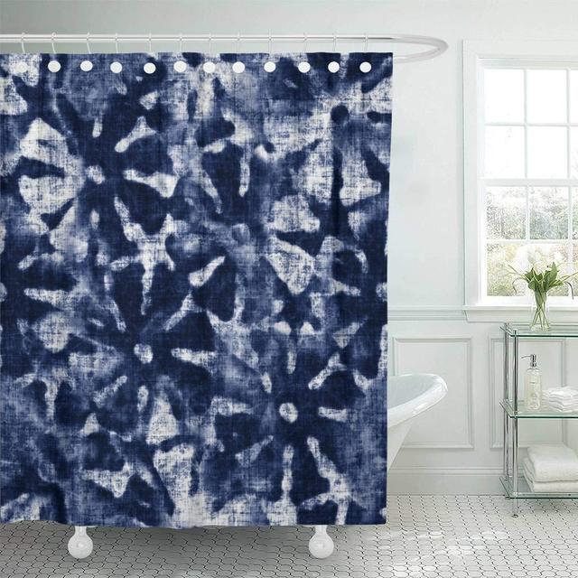 Fabric Shower Curtain Blue Indigo Abstract Tie Dyed Floral Navy Shibori Irregular Washed Artistic Creative Decorative