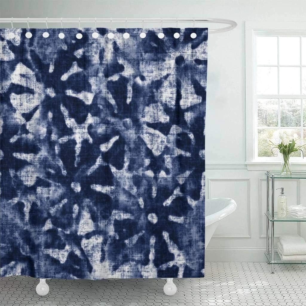 fabric shower curtain blue indigo abstract tie dyed floral navy shibori irregular washed artistic creative decorative