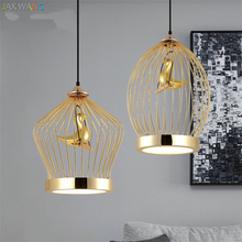 Post-modern Golden Bird Cage Pendant Lights for Dining Room Bedsides Restaurant Bar Nordic Cafe Decorate Hanging Lamps Fixture цены