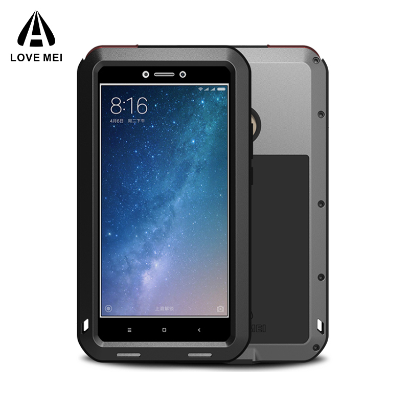LOVE MEI Aluminum Metal Case For Xiaomi Mi Max 2 Cover Armor Shockproof Waterproof Case For Xiaomi Mi Max2 Coque + Gorilla GlassLOVE MEI Aluminum Metal Case For Xiaomi Mi Max 2 Cover Armor Shockproof Waterproof Case For Xiaomi Mi Max2 Coque + Gorilla Glass