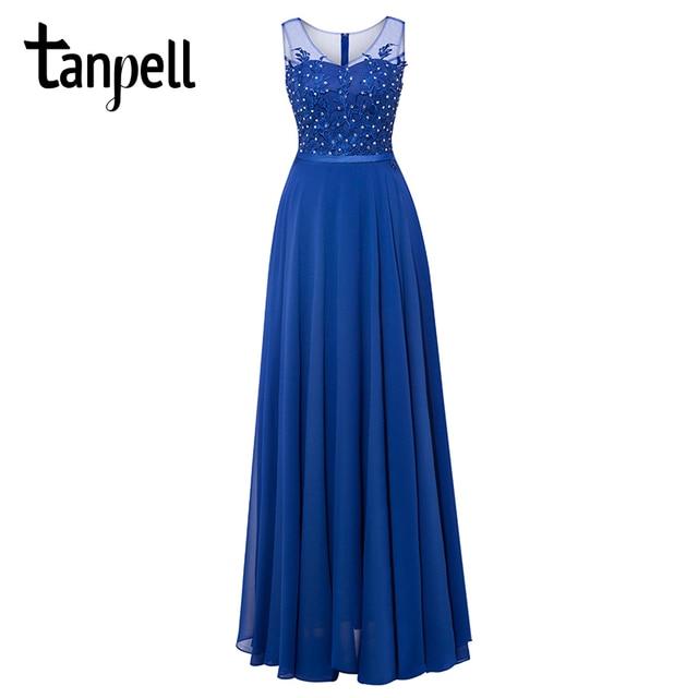 Tanpell длинные Scoop вечернее платье ES Королевский синий цвет без рукавов из бисера Линия длина до пола платье дешевые женские Пром Вечернее платье