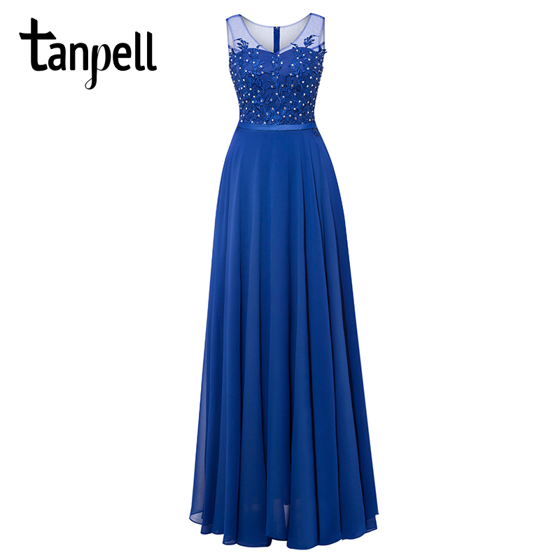 Tanpell long scoop evening dresses royal blue sleeveless beaded a line floor length gown cheap women party prom evening dress