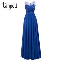 Tanpell Long Scoop Evening Dresses Hunter Sleeveless Beaded Lace A Line Floor Length Gown Cheap Women