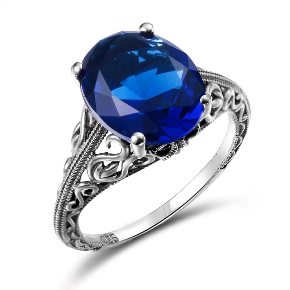 Love frame Cushion 2ct Blue Created Sapphire Solitaire Engagement Ring 925  Sterling Silver Jewelry fashion rings