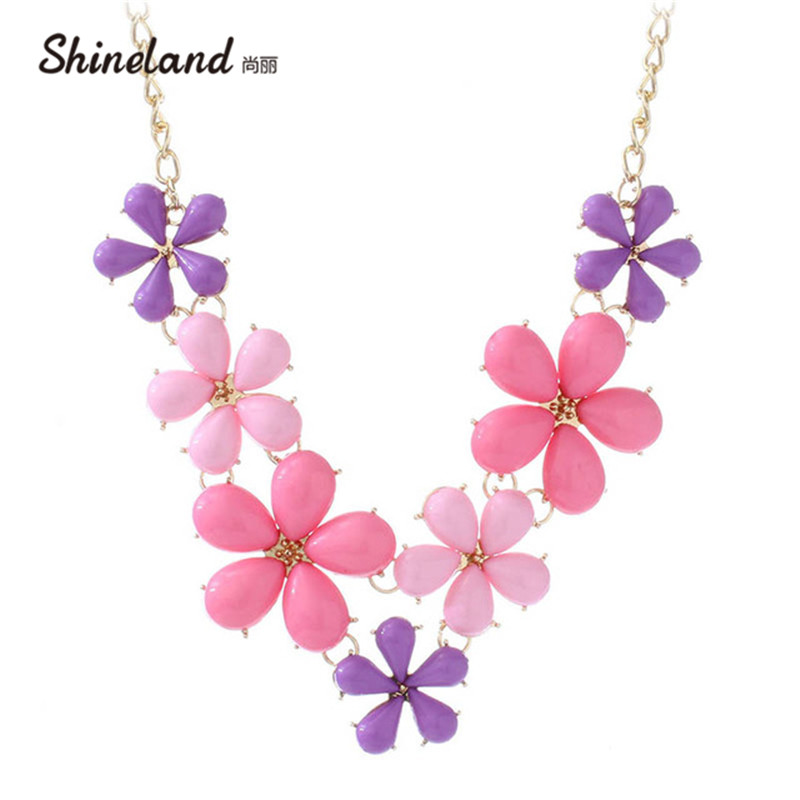 Shineland Fashion Boho Choker Necklace Women's Jewelry Pink Blue Resin Sweet Flower Bib Statement Collar Chain Necklace&Pendant