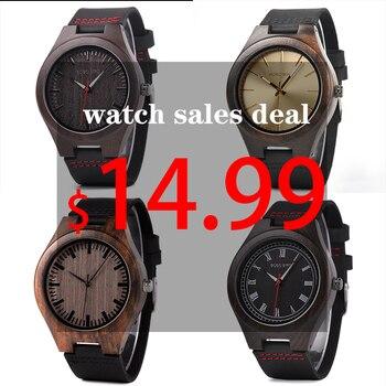 Bobo Bird classique rond noir ébène bois montres pour hommes en cuir Quartz montre en vente