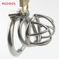Male Chastity Device with Arc-Shaped Cock Ring Stainless Steel SMALL size Penis Bondage Cage