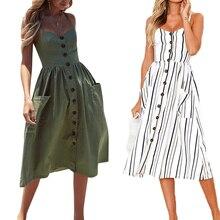купить Casual Vintage Sundress 2019 Women Summer Dress Boho Sexy Dress Midi Button Backless Polka Dot Striped Floral Beach Dress Female дешево
