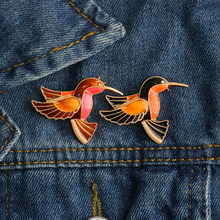 Colorful Glaze Flying Birds Metal Gold Black Brooch Pins Dress Jacket Collar Lapel Pin Badge Cute Gifts Jewelry for Kids Girls(China)