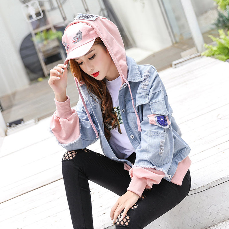 Harajuku Hooded jacket women Bomber jacket Loose BF Coat Baseball Outwear Patchwork Denim Windbreaker Mori girl Korean clothes