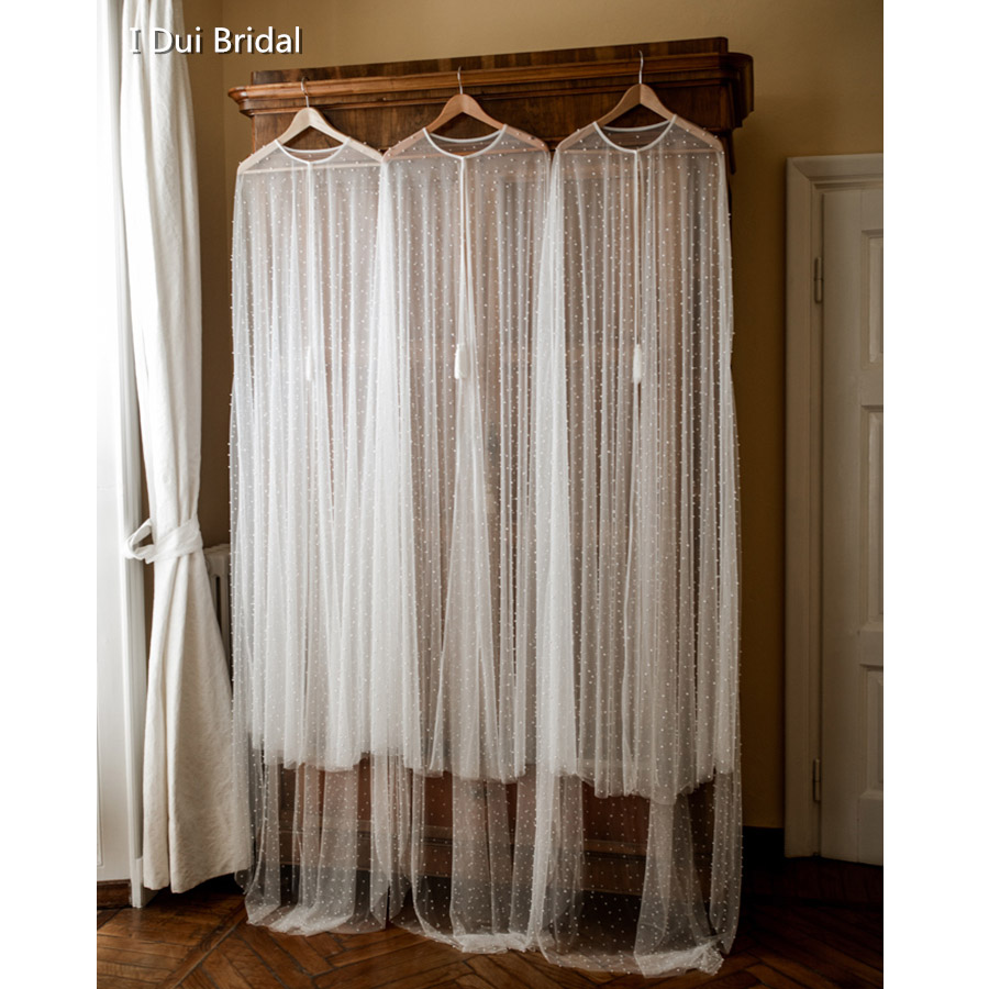Perle Tulle Cape de mariée châle de mariage 2 mètres de Long mariage Illusion écharpe Boho accessoire de mariage