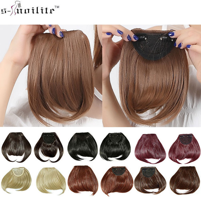 Snoilite 1pcs Women Synthetic Clip In Bangs Fringe Hair Extensions
