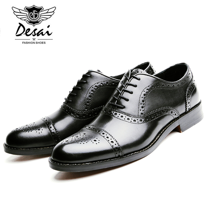 DESAI Fashion Men's Genuine Leather Oxford Shoes Luxury Italian Men Shoes Brand Summer Leather Shoes Male Lace Up DS6278-21-22 desai brand mens sandals genuine leather shoes fashion summer men slippers breathable casual shoes leather man ds968