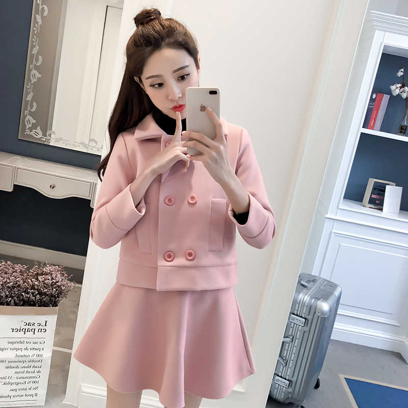 2 Piece Set Women 2019 Autumn Winter Women's Long Sleeve Double Breasted Jacket + Skirt Suits Two Piece Set Female Clothes