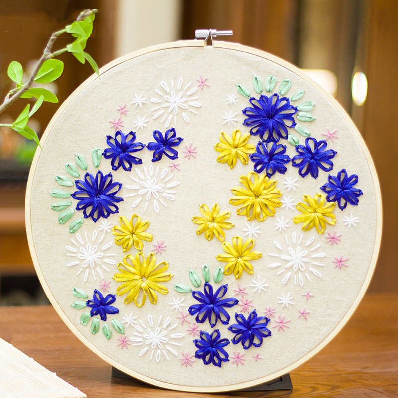 DIY Ribbons Embroidery for Beginner Needlework Kits Cross Stitch ...