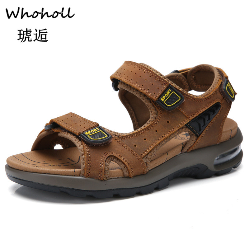 Whoholl Hot Sale New Fashion Summer Leisure Beach Men Shoes High Quality Leather Sandals The Big Yards Men 39 s Sandals Size 38 48 in Men 39 s Sandals from Shoes