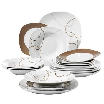 VEWEET NIKITA 18-Piece Ceramic Porcelain Kitchen Dinner Plates Set Tableware Set with Dinner Plate,Dessert Plate,Deep Soup Plate