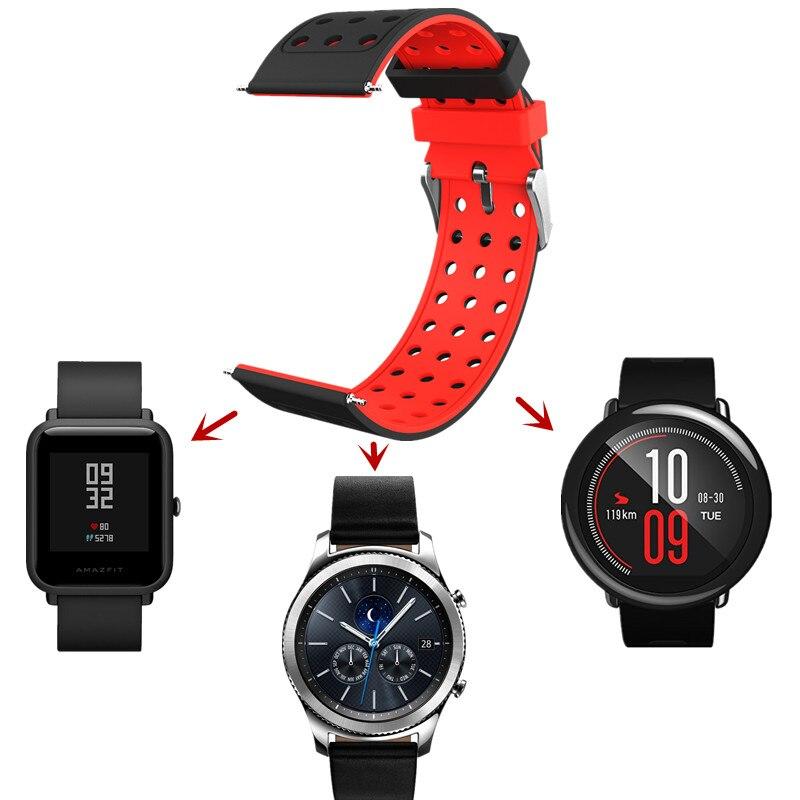ASHEI 20mm Bracelet pour Xiaomi Huami Amazfit Bip PEU RYTHME Lite Jeunes Montre Smart Watch Sport Bracelet 22mm Bande de Silicone pour Samsung