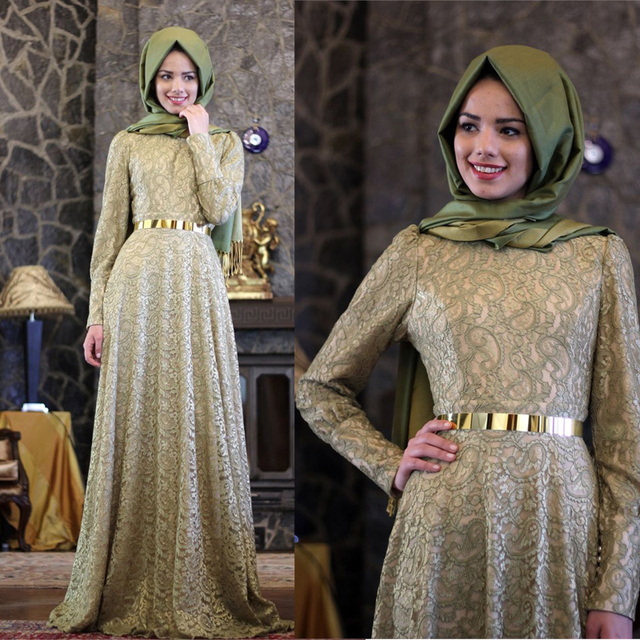 c1768652f44e Green Lace Muslim Evening Dresses Floor Length Full Sleeves Sash Long Evening  Gown Hijab A Line