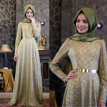 Green Lace Muslim Evening Dresses Floor Length Full Sleeves Sash Long Evening Gown Hijab A Line Vestido De Festa Elegant ZED83