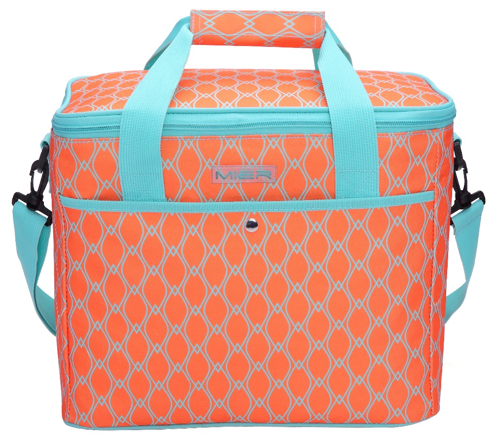 MIER 18L Large Soft Cooler Insulated Picnic Bag for Grocery, Road Trip, Beach, Car, Bright Orange Color