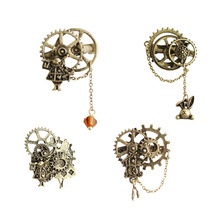 SANSUMMER 2019 New Style Fashionable Alloy Plating Cartoon Retro Old Punk Mechanical Gear Chain Rabbit Animal Womens Brooch 346