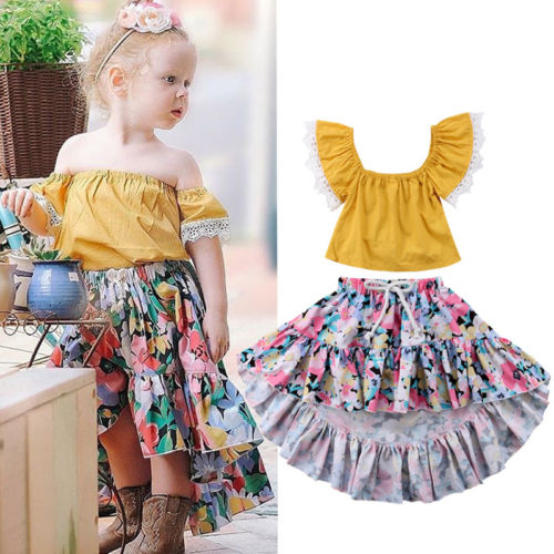 Hot Sales Toddler Kids Baby Girl Summer Outfits Lace Off Shoulder Blouse Tops+Floral Skirt Clothes Set