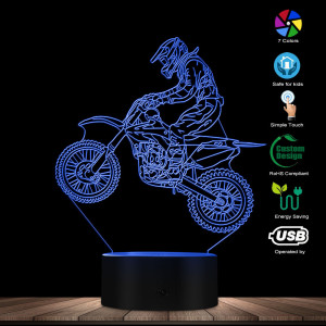 Image 2 - Dirt Bike 3D Illuminated Display Desk Lamp Motorcross Bike Modern Illusion Night Lights Gift For Freestyle Motorcross Bikers