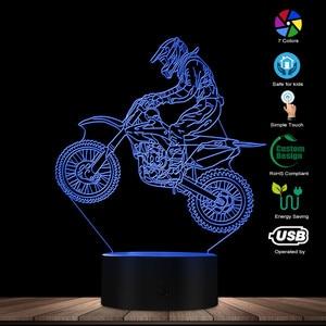 Image 2 - Dirt Bike 3D affichage lumineux lampe de bureau moto cross vélo moderne Illusion veilleuses cadeau pour Freestyle motocross motards
