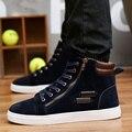 Novo 2016 Homens Sapatos Casuais Respirável Primavera Outono Calçados Confortáveis Sapatos de Skate dos homens Botas Curtas de Camurça Sintética Masculino