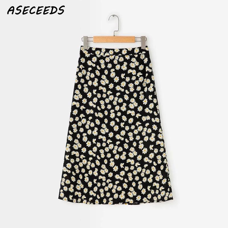 Summer Boho Vintage High Waist Skirt Ladies Kawaii Floral Print Midi Skirts Womens Korean Punk Streetwear Faldas Mujer Moda 2019