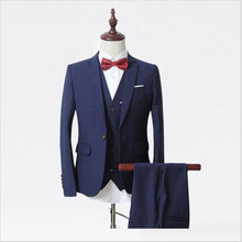 Black Wool Blended Men's Wedding Suits Groom Tuxedos Morning Suits Custom Made three Pieces (Jacket+Pants+ Vest )