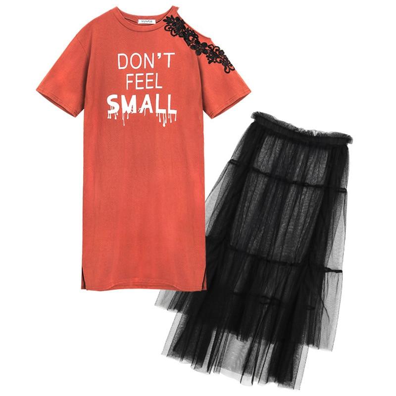 Plus size Two piece set Women Off shoulder Dress Tulle Skirt set Summer Print