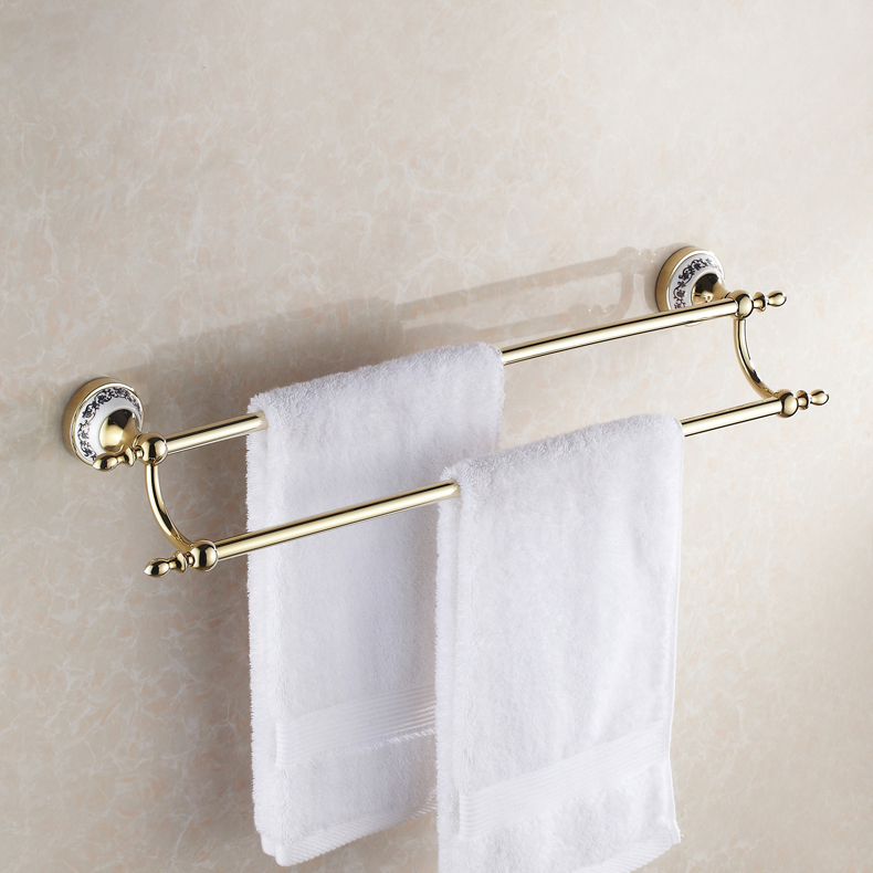 gold polished brass bathroom double towel bars rack wall