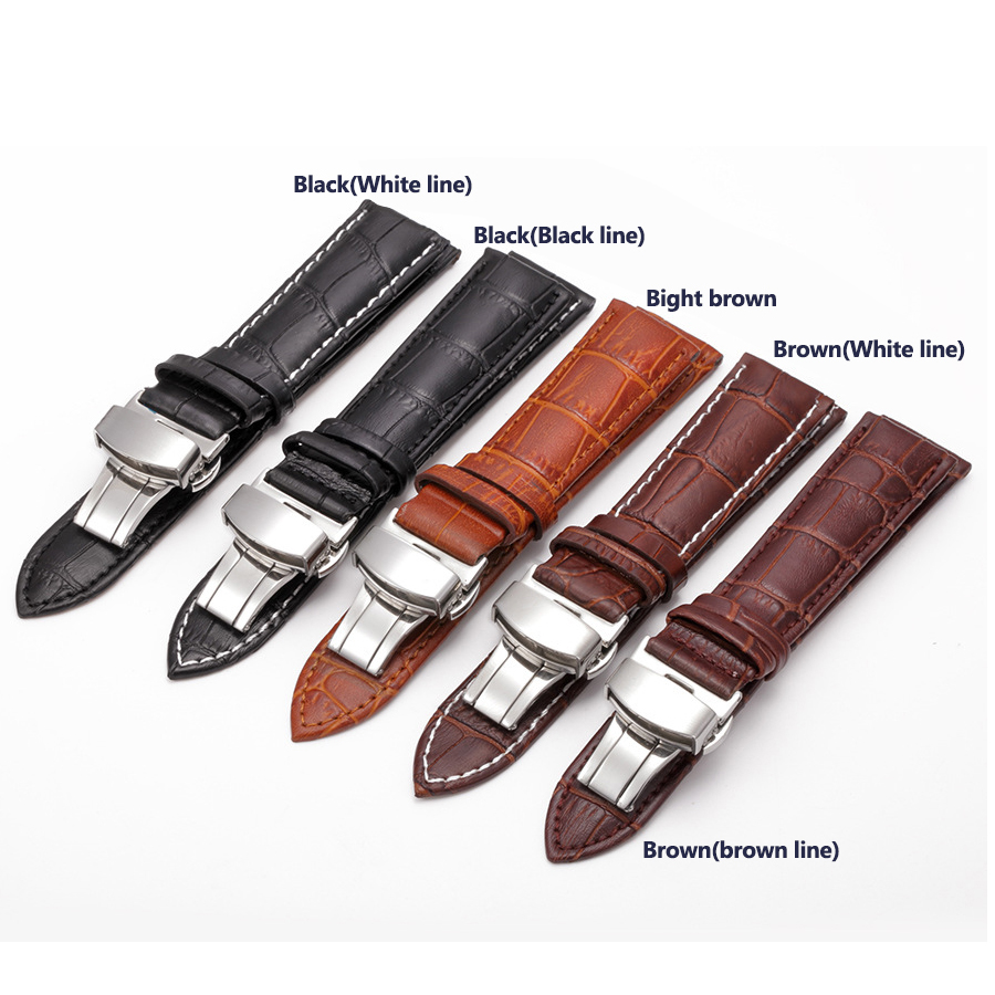Genuine Leather Watchband With Butterfly Buckle Slub Grain Cowhide Strap for Watch Band Sized in 12 14 16 18 19 20 21 22 24 Mm