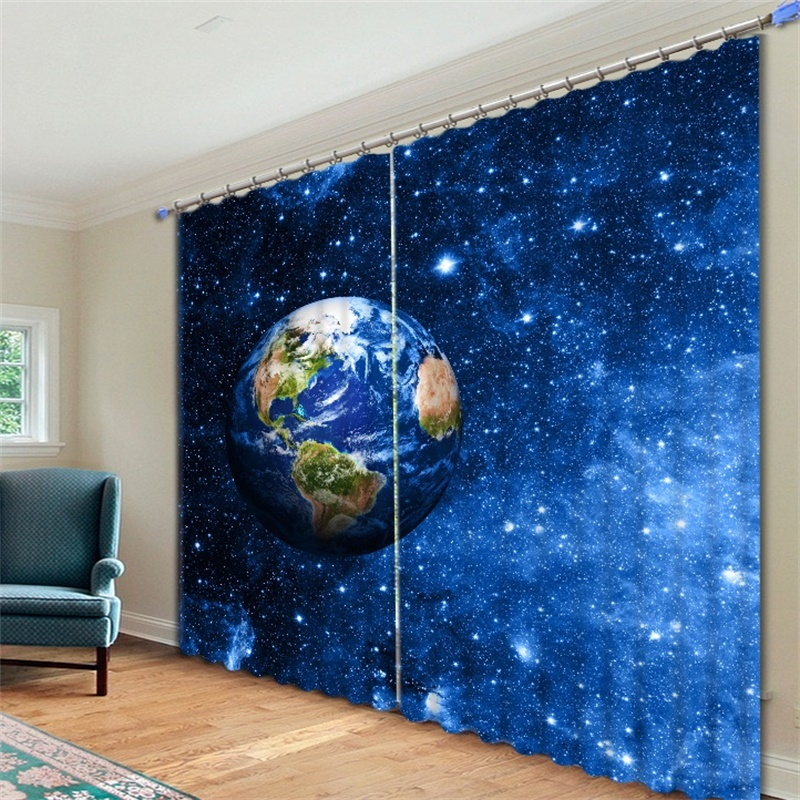 Astronaut Nasas Outer Space Planets Curtains Blackout For Living Room Bedroom Home Decor Long Or Short Window Drapery Fabric