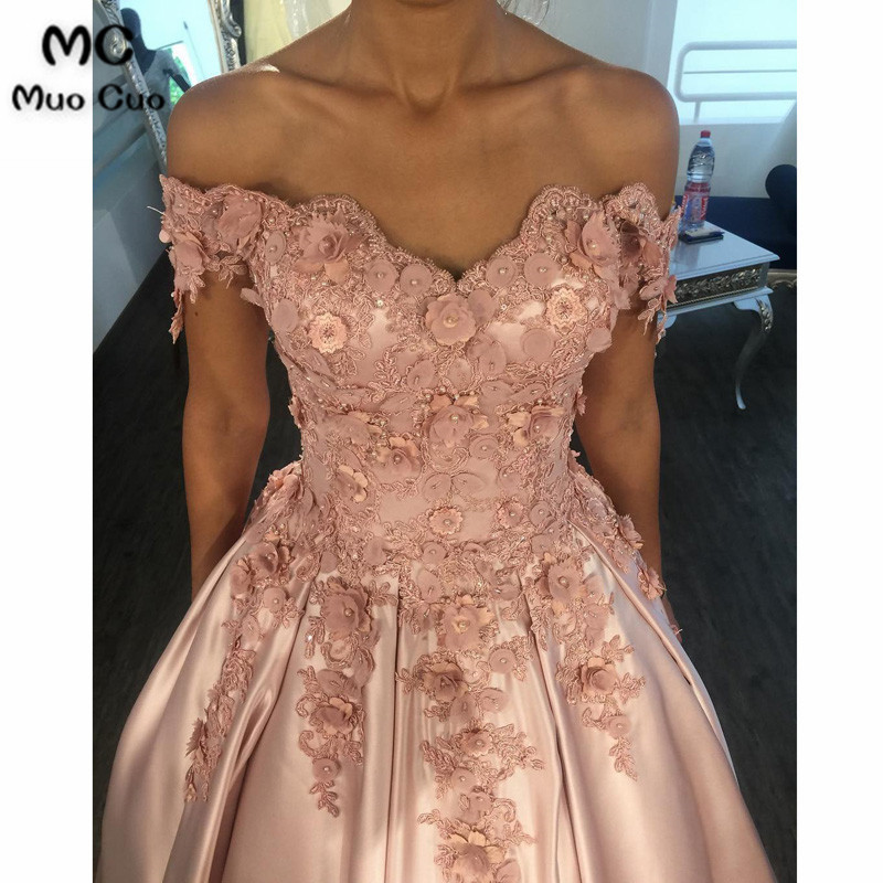 Elegant Ball Gown 2018 Off Shoulder   Prom     dresses   Long with Appliques Flowers Beaded Short Sleeve Evening   Prom     Dress   for Women