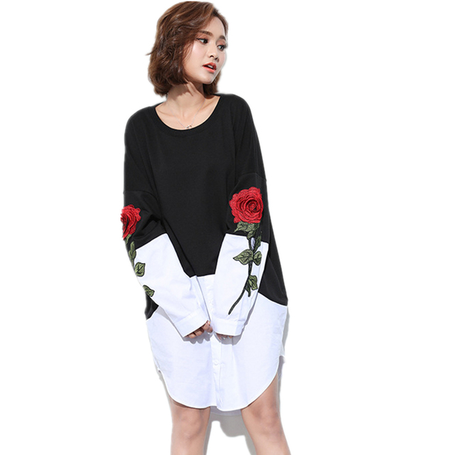 2018 Spring New Womens O-Neck Roses Embroidery Long Sleeve Black White  Joining Together Shirt Fake Two Piece Loose Dress LJX18 a7c3ee203b