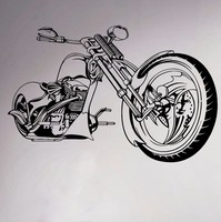 Free Shipping Motorcycle Chopper Wall Vinyl Sticker Motorbike Room Decor Decal Garage Sport Club Home Interior Bedroom Murals