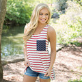 Sexy Mujer de la Bandera Americana Chaleco Sin Mangas Camiseta Sin Mangas Blusa