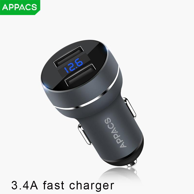 APPACS 2 USB Car Charger Quick Charge 3.0 Car-Charger 3.4A Dual Ports 17W Mini Fast Car Quick Charger for iPhone Samsung Xiaomi